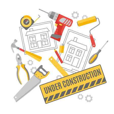 renovations: Construction worker building project technical drawing carpentry tools and accessories decorative pictograms composition poster abstract vector illustration Illustration