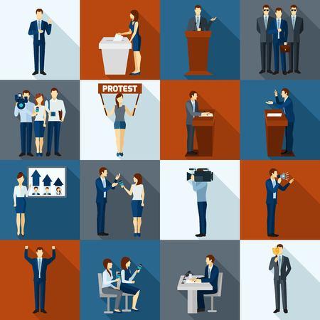 Politiek en overheid verkiezing vlakke pictogrammen set geïsoleerde vector illustratie