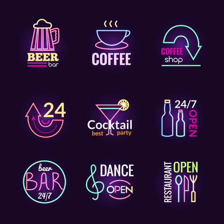 Restaurant bar and dance club neon signs set isolated vector illustration Illustration