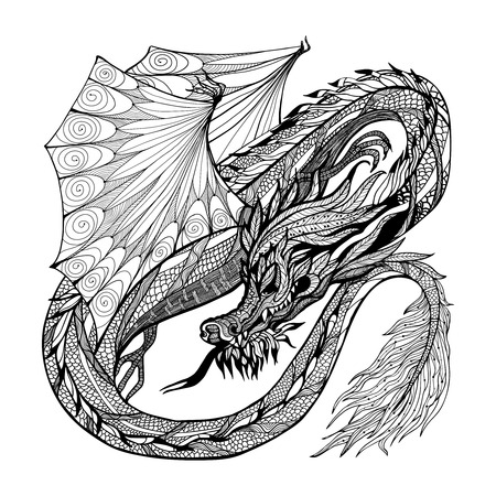 dragon tattoo: Wild ancient black sketch dragon with decorative ornament vector illustration
