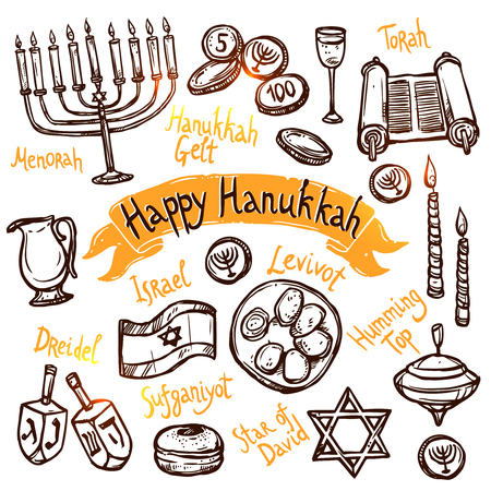 Hanukkah traditional jewish holiday doodle symbols set isolated vector illustration