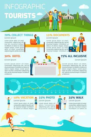 albergo: infografica turistici set con la gente sul figure vacanza e grafici illustrazione vettoriale