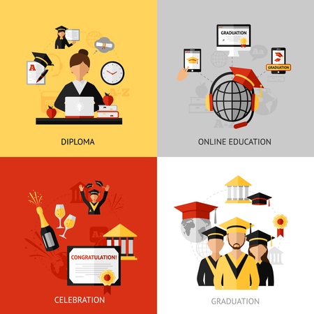 network and media: Graduation design concept set with diploma and online education flat icons isolated vector illustration