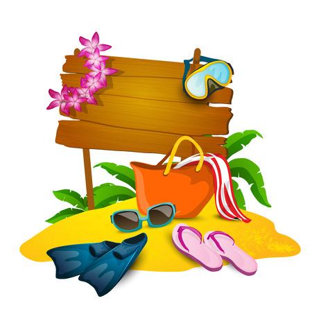 de zomer: Strand en in de zomer cartoon achtergrond met slippers tas en zand vector illustratie Stock Illustratie