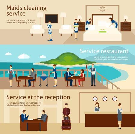 mucama: El personal del hotel conjunto de banner horizontal con camareras limpiando elementos de servicio aislados ilustración vectorial