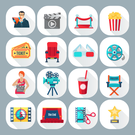 Film shooting icons set with director operator and cinema on grey background shadow flat isolated vector illustration Ilustracja