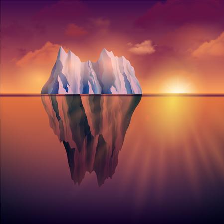 sea landscape: Northern sea landscape with iceberg and sunset on background vector illustration