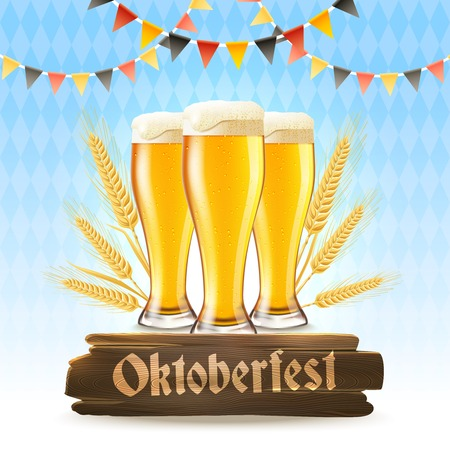 wooden signboard: Oktoberfest poster with realistic lager glasses wheat and wooden signboard vector illustration