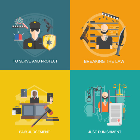 law breaking: Fair judgement and just punishment icons set with breaking the law and police flat isolated vector illustration Illustration