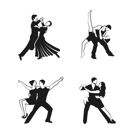 hustle: Dance icons set with black people silhouettes isolated vector illustration Illustration