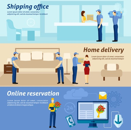 Online shopping reservation purchase and home delivery shipping  service 3 flat horizontal banners  poster abstract vector illustration