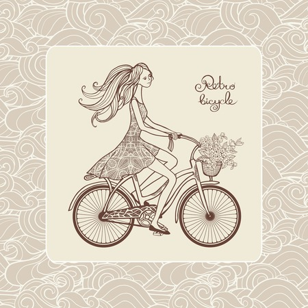 retro postcard: Retro style postcard with girl riding a bicycle and ornamental background vector illustration