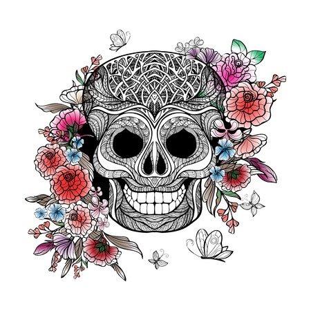 mexican girl: Day of the dead concept with sketch human skull and flowers vector illustration Illustration