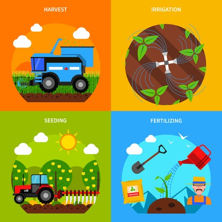 agricultura: Agricultura concepto de diseño conjunto con la cosecha y riego plana iconos ilustración vectorial aislado