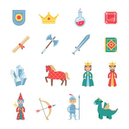 medieval: Juegos medievales iconos planos de conjunto con caballero coronada escudo heráldico y la alabarda abstracto ilustración vectorial aislado plana Vectores