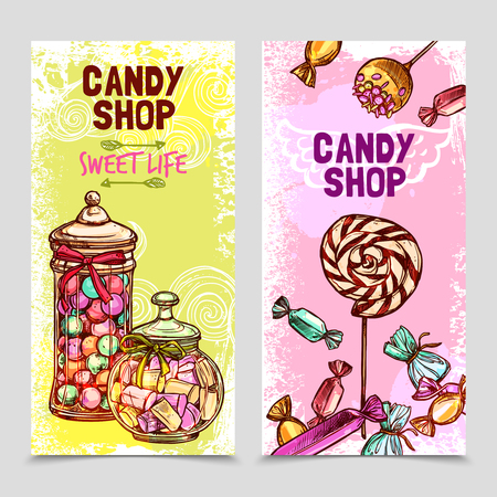 Sweet vertical banner set with hand drawn candies and marshmallow isolated vector illustration Vettoriali