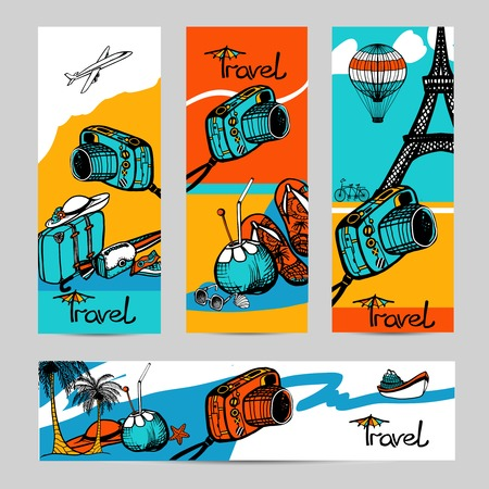 Travel banner set with sketch photo camera and touristic attractions isolated vector illustration Stock Vector - 45347317