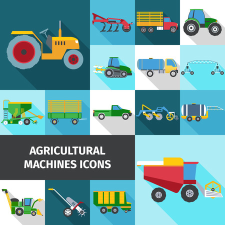 machines: Agricultural industry square shadow icons set with machines and engineering flat isolated vector illustration