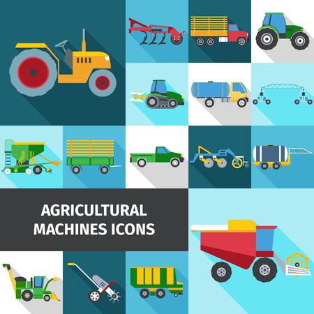pulverizador: La industria agrícola iconos cuadrados de sombra establecidos con máquinas e ingeniería plana aislados ilustración vectorial