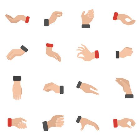 symbol hand: Grabbing Hand Icons mit Kommissionierung Bereitschaft und hält flach isolierten Vektor-Illustration festgelegt Illustration