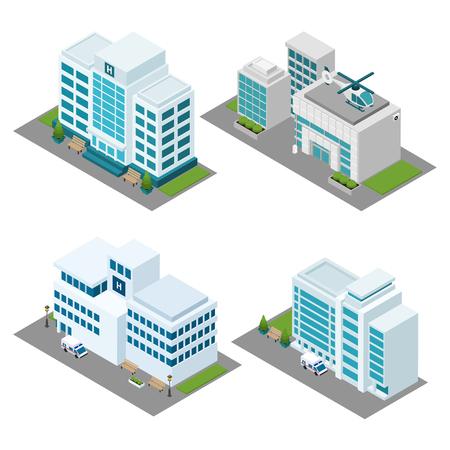 ambulancia: Iconos isométricos de construcción del hospital establecen con helicóptero ambulancia y aislado césped ilustración vectorial Vectores