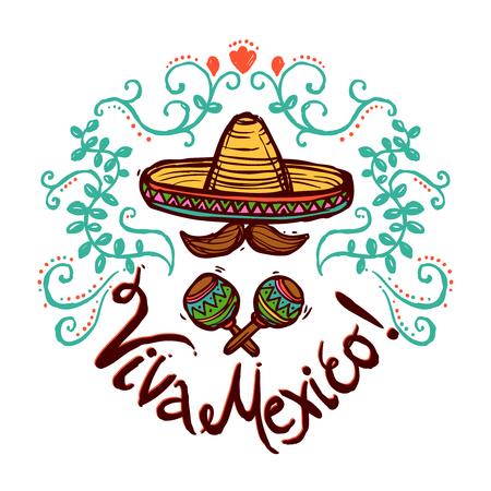 メキシコのコンセプト スケッチ ソンブレロ マラカスと花飾りのベクトル図