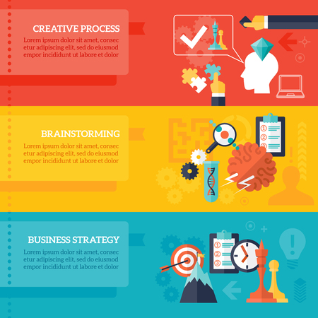 plan: Business strategy horizontal banners set with creative process and brainstorming symbols flat isolated vector illustration