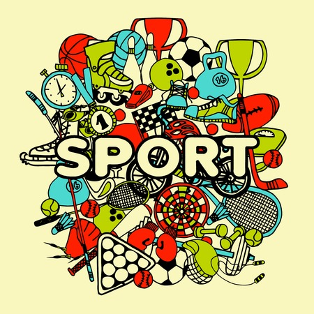 game equipment: Sport doodle collage with hand drawn game equipment vector illustration