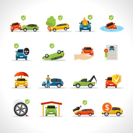 catastroph�: Assurance de voleur de voitures et de protection en cas de catastrophe icons set isol� illustration vectorielle