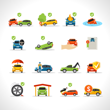disaster: Car insurance thief and disaster protection icons set isolated vector illustration