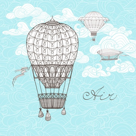 hands in the air: Vintage sky poster with retro hot air balloons on ornamental clouds background sketch vector illustration