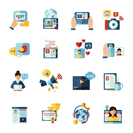 icono ordenador: Iconos planos medios sociales blogger web conjunto aislado ilustración vectorial Vectores
