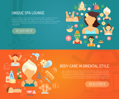 therapy: Spa banner horizontal set with oriental style body care elements flat isolated vector illustration Illustration