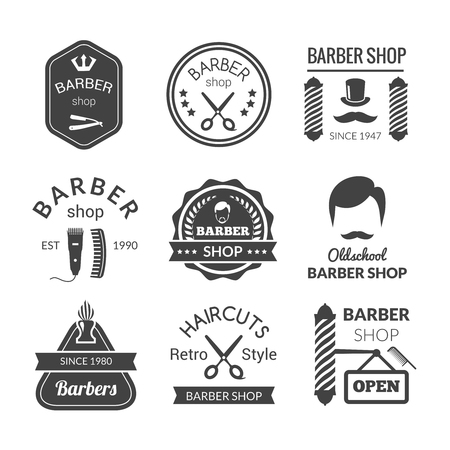 hair dryer: Barber shop emblems set with brush beard cream blade isolated vector illustration