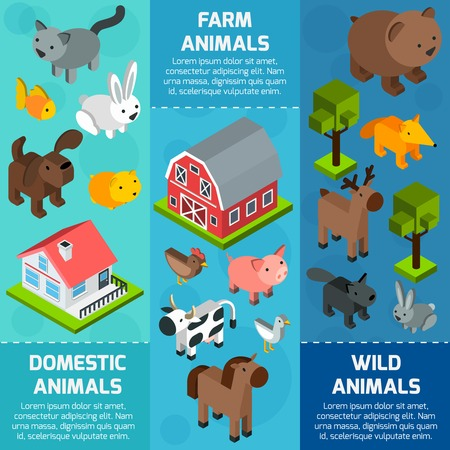 domestic: Vertical banner set with isometric wild farm and domestic animals isolated vector illustration Illustration