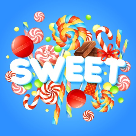 candy shop: Sweets concept with multicolored candies and chocolate realistic vector illustration