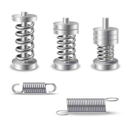 compression: Realistic silver shiny metal springs compression devices isolated vector illustration