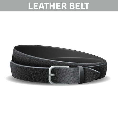 black belt: Black realistic curled leather belt with metal buckle isolated vector illustration Illustration