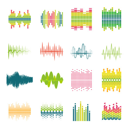 audio: Audio equalizer sound wave profile flat icons set in various shapes and colors abstract isolated vector illustration Illustration