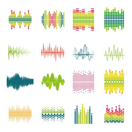 sonido: iconos planos del ecualizador de audio del perfil de onda de sonido se encuentran en diversos formas y colores resumen ilustración vectorial aislado