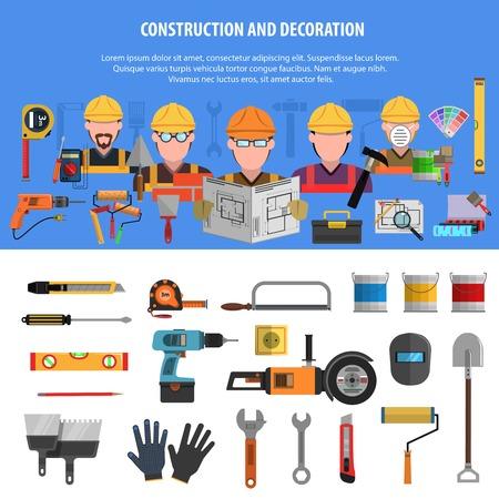 mantenimiento: Trabajador banner horizontal conjunto con elementos de construcci�n y decoraci�n ilustraci�n vectorial aislado Vectores