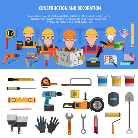 maintenance work: Worker horizontal banner set with construction and decoration elements isolated vector illustration