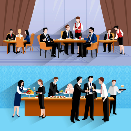 Business people lunch at work two horizontal banners composition of company cantina buffet abstract isolated vector illustration