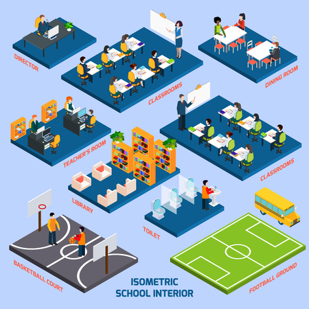 college students: Isometric school interior with 3d indoors objects and people figures vector illustration Illustration