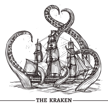 style: Giant octopus catches old style sail ship hand drawn vector illustration