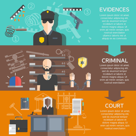evidences: Justice and court horizontal banners set with evidences and criminal flat isolated vector illustration Illustration