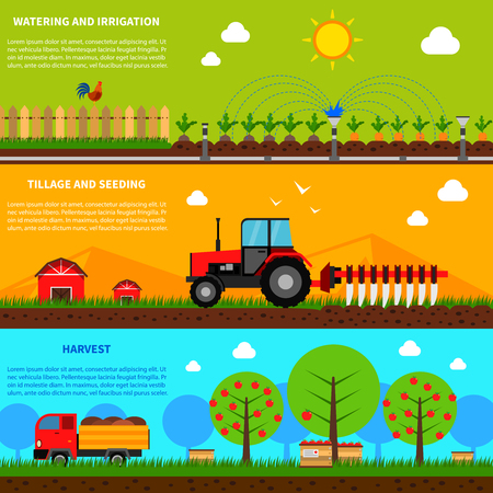 Farming horizontal banner set with watering and seeding elements isolated vector illustration Illustration