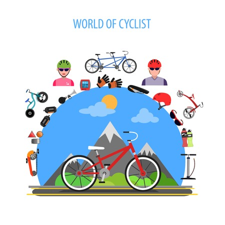 road cycling: Cycling concept with bike and bicycle sport flat icons set vector illustration