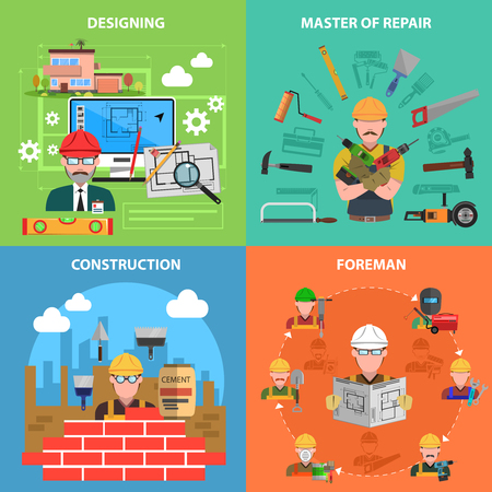 architect tools: Worker design concept set with construction and repair flat icons isolated vector illustration