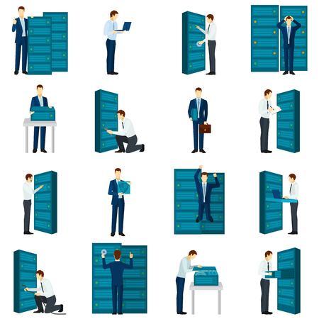 meseros: Iconos de centros de datos planos establecidos con los servidores e ingenieros figuras aisladas ilustración vectorial